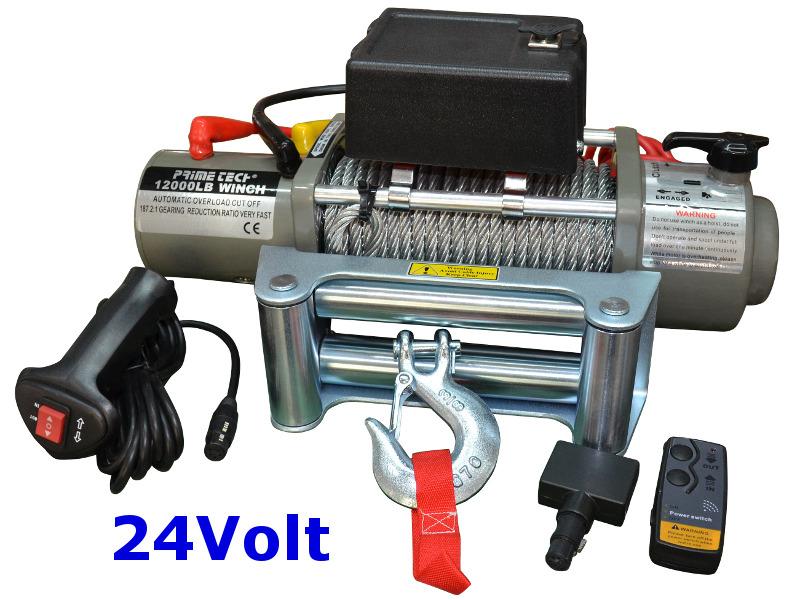 Prime Tech Elektrische Seilwinde 5440kg 24V mit Überlastschutz