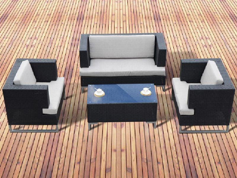 poly rattan gartenm bel hochwertige polster sitzgruppe roma schwarz ebay. Black Bedroom Furniture Sets. Home Design Ideas