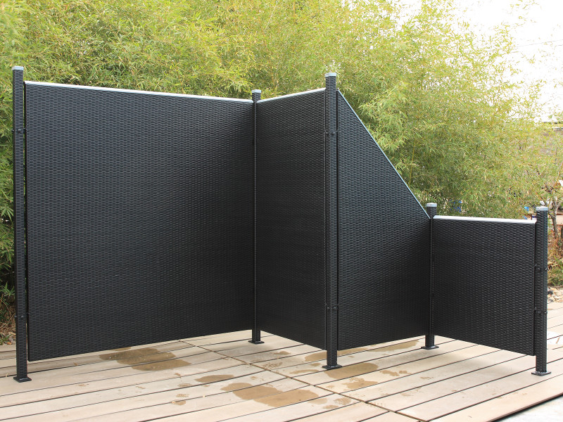 poly rattan sichtschutz zaun set 17 teilig schwarz ca 974cm prime tech ebay. Black Bedroom Furniture Sets. Home Design Ideas